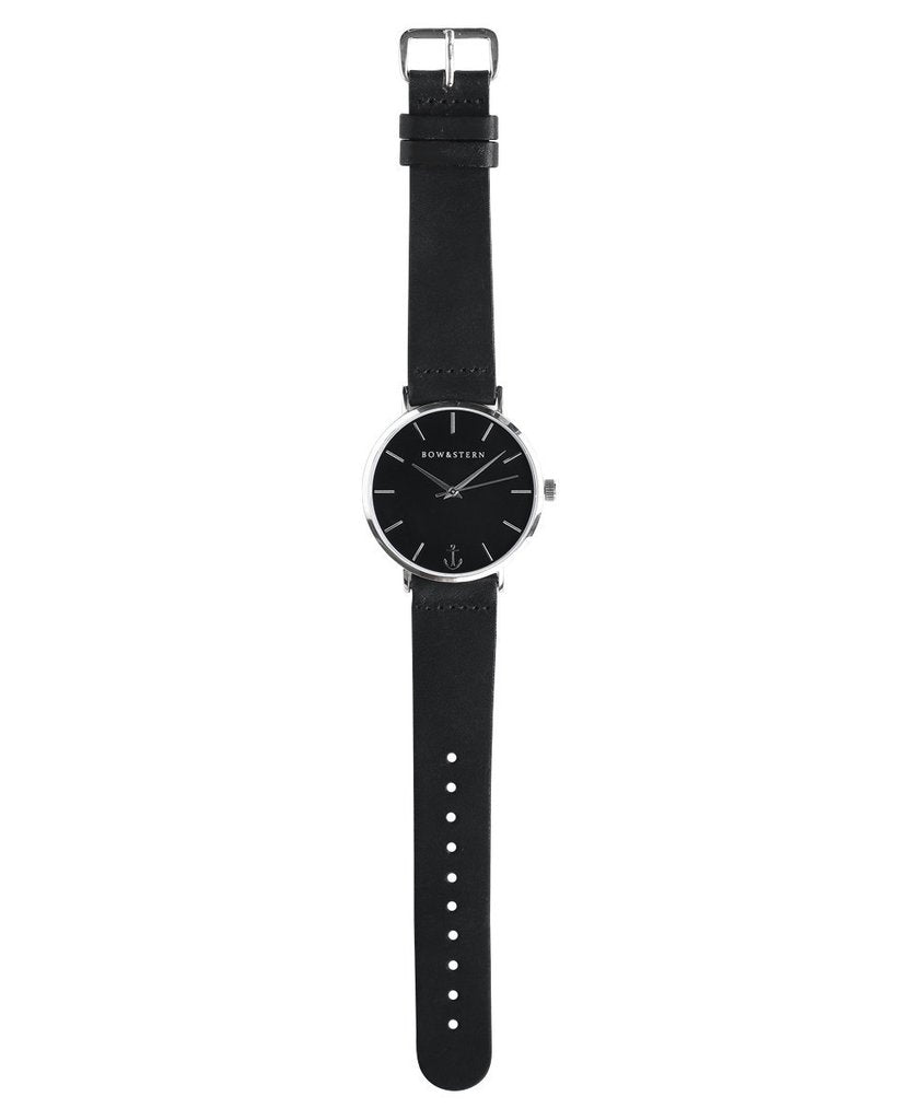 Bow & Stern - Atlantico - Silver and Black Watch | Black Leather