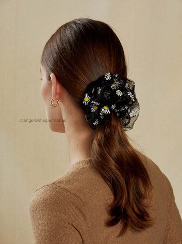 Angels Whisper - Odette Daisy Print Organza Scrunchie - Black