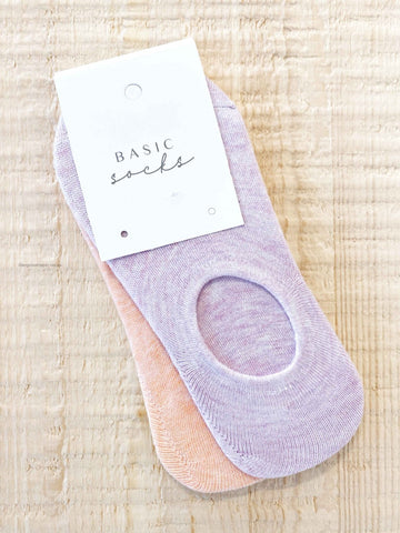 Angel Whisper - Basic Low Cut Socks 2 Pack - Lilac & Peach