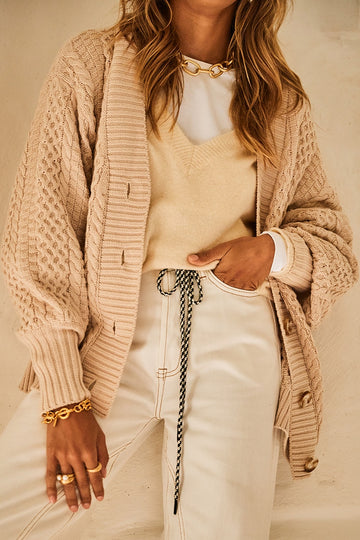 Bohemian Traders - Cable Cardi - Bone