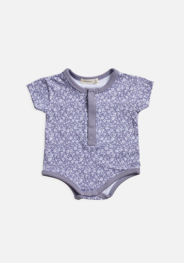 Miann & Co Baby - Short Sleeve Bodysuit - Lavender Grey Floral