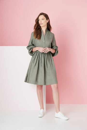 Elms + King - Barrington Shirt Dress - Khaki (Navy/White Piping)