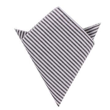 OTAA - Black and White Chalk Stripes Cotton Pocket Square