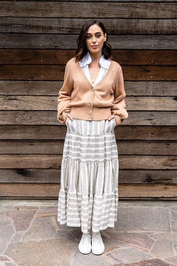 Elms & King - Byron Tiered Skirt - Stripe Linen