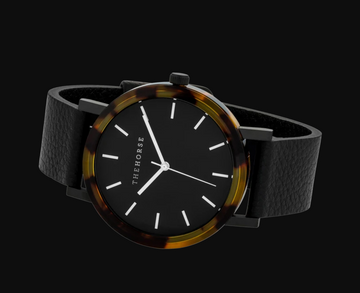 The Horse - Mini Resin - Brown Tortoise Shell/Black Dial/ Black Leather