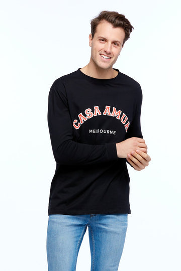 Casa Amuk - Long Sleeve Varsity Tee - Black / Chilli