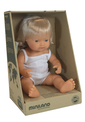 Miniland Doll - Anatomically Correct Baby - Caucasian Girl - 38 cm