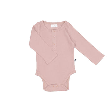 Burrow & Be - Long Sleeve Rib Henley Body Suit - Dusty Rose