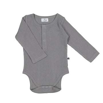 Burrow & Be - Long Sleeve Rib Henley Body Suit - Steel
