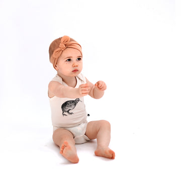 Burrow & Be - Singlet Onesie - Almond Kiwi