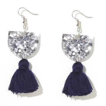 Emeldo Annie Earrings - Silver with Navy