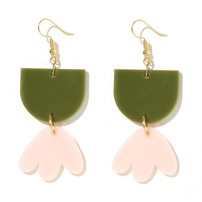 Emeldo - BAMBI EARRINGS // OLIVE GREEN WITH PALE PINK