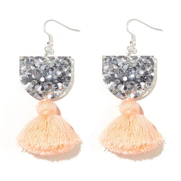 Emeldo - ANNIE EARRINGS // SILVER WITH PEACH