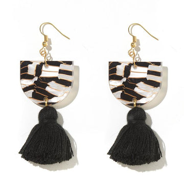 Emeldo - ANNIE EARRINGS // BLACK, WHITE AND GOLD TIGER WITH BLACK