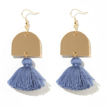 Emeldo - Luna Earrings - Gold Mirrors with Worn Indigo