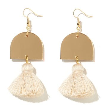 Emeldo- Luna Earrings - Gold Mirror with Light Beige