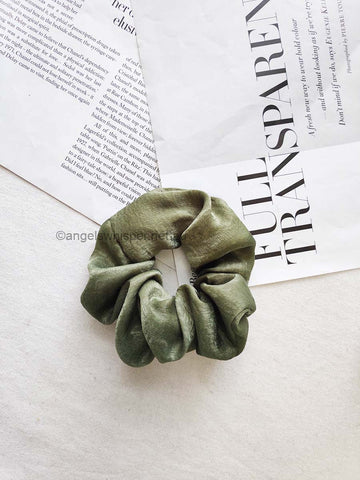Angels Whisper - Raine Satin Scrunchie - Khaki