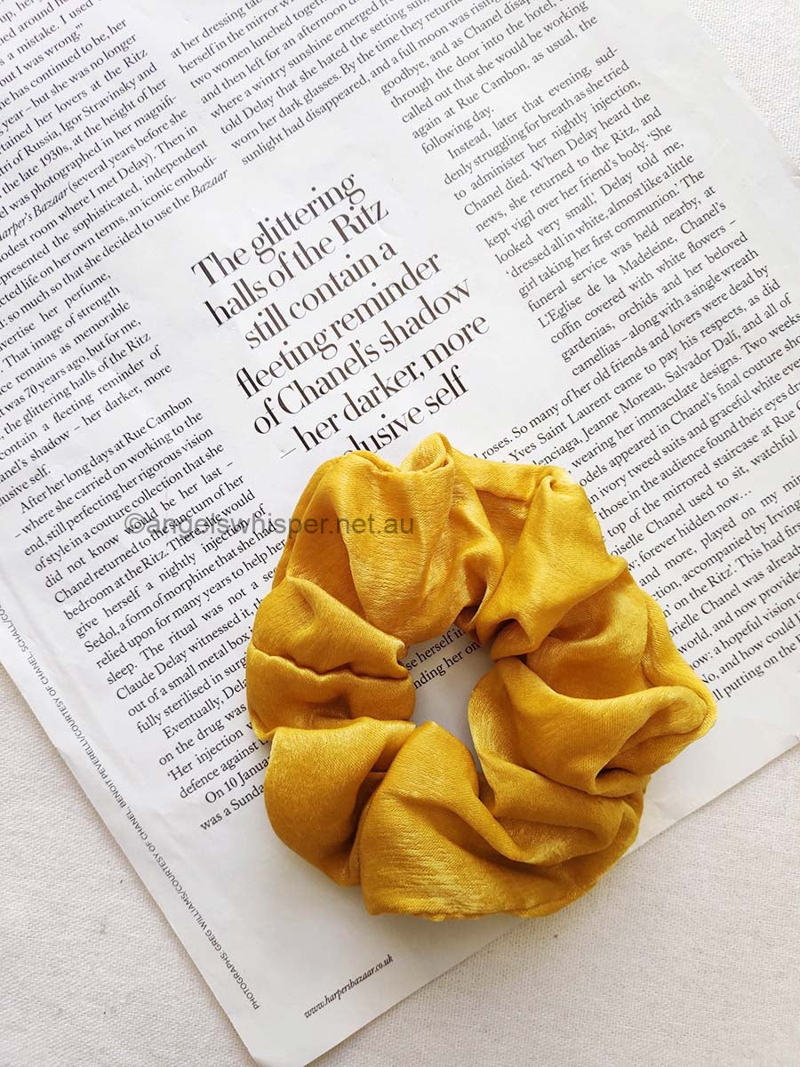 Angels Whisper - Raine Satin Scrunchie - Mustard