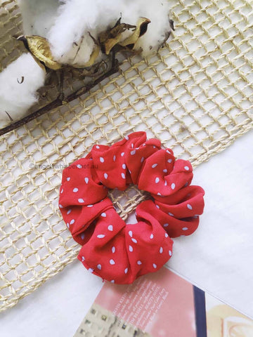 Angels Whisper - Aiaia Chiffon Polka Dot Scrunchie - Red