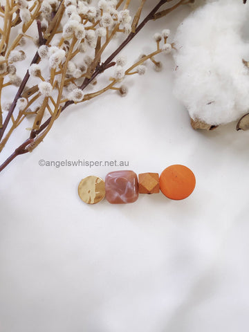 Angel Whisper - Naomi Wooden and Stone Hair Clip - Orange