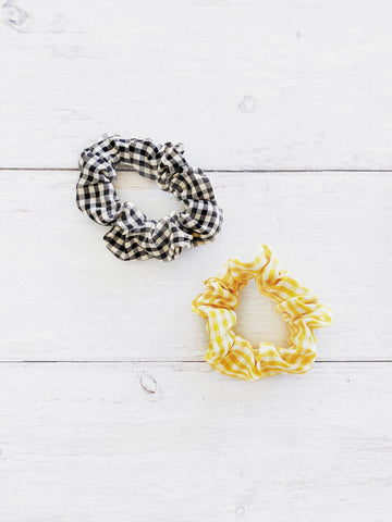 Angel Whisper - Suzette Gingham Scrunchie Duo - Black & Yellow