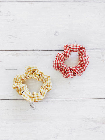Angel Whisper - Suzette Gingham Scrunchie Duo - Red & Mustard