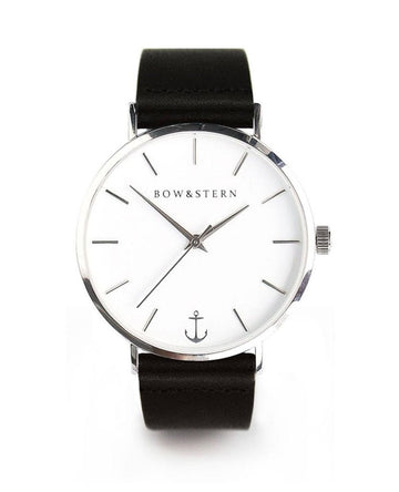 Bow & Stern - Havana Watch - Black Leather - Polished Silver - White Face