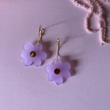 Emeldo - Flower Power Earrings -Froster Lavender with Gold Mirror