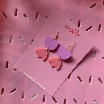Emeldo - Bambi Earrings - Mauve and Bright Pink