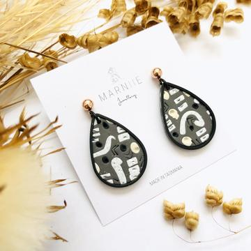 Marniie - ABSTRACT Pendant Earrings - Matte Black - Assorted Colours