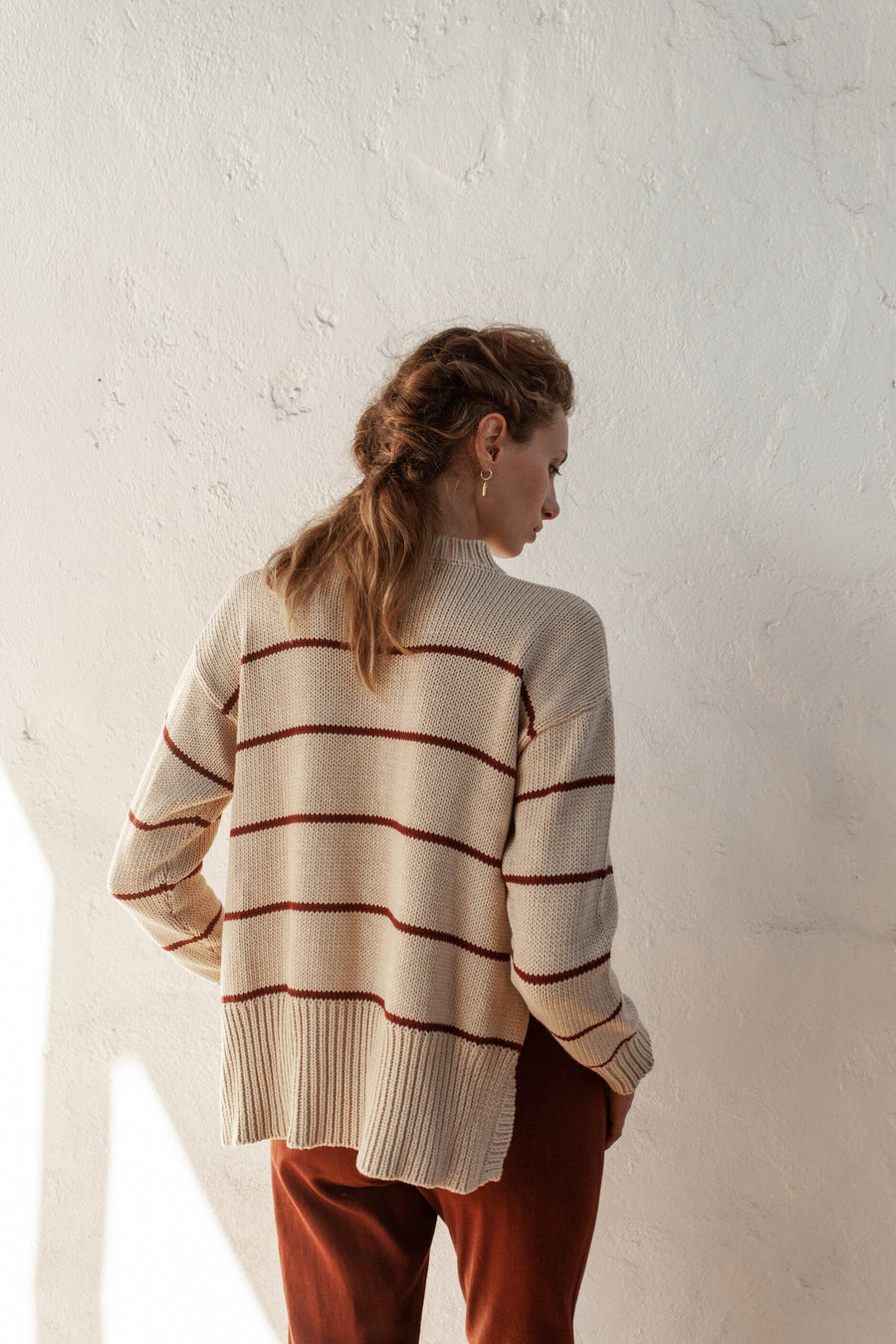 Bird & Kite - Marcel Jumper - Fawn & Burgundy Stripe
