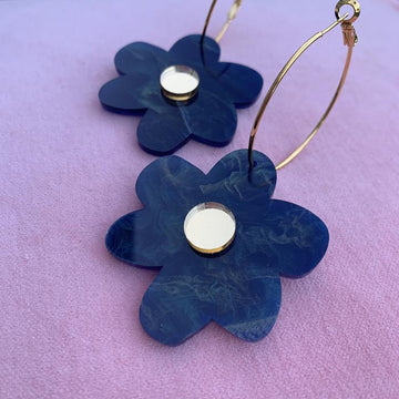 Emeldo - Flower Power Earrings - Blue Pearl with Gold