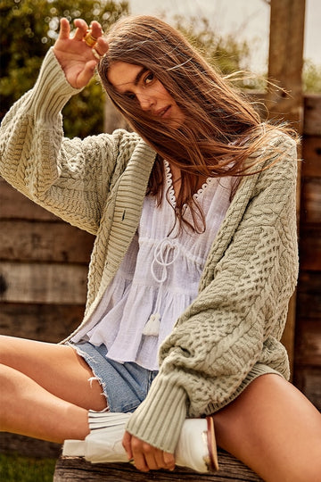 Bohemian Traders - CABLE KNIT CARDI IN SAGE