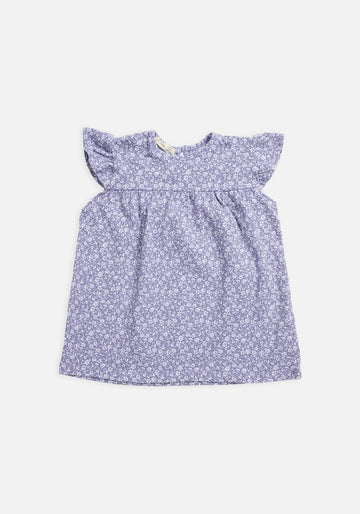 Miann & Co - Short Sleeve Frill Top - Lavender Grey Floral