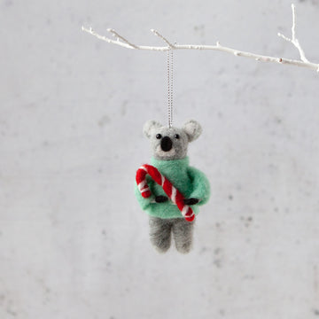 Down To The Woods - Felt Koala with Candy Cane