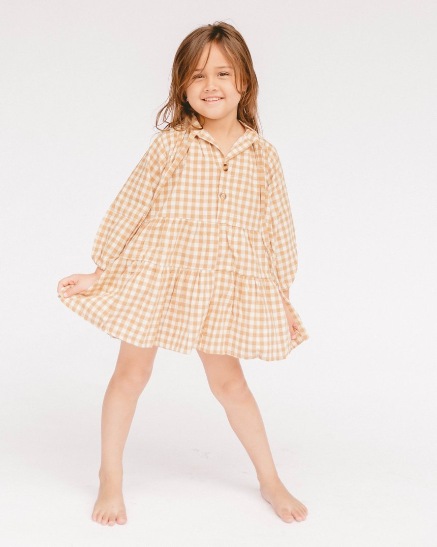 The Lullaby Club - PREORDER - Mini Avalon Smock Dress // Caramel Gingham