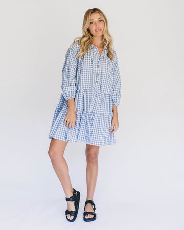 The Lullaby Club - PREORDER - Avalon Smock Dress // Blue Gingham