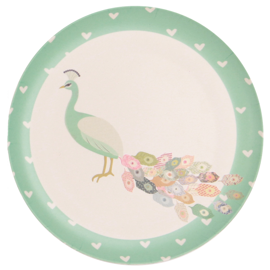 Love Mae - Bamboo Plates - 4 Pack - Peacock & Doe