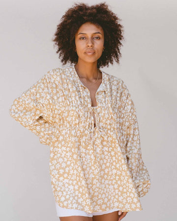 The Lullaby Club - Penny Smock Blouse // Caramel Daisies