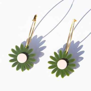 Emeldo - Daisy Earrings - Olive Green with Pale Pink