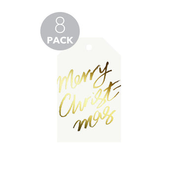 Galina Dixon - 8 PACK of Merry Christmas Gift Tags (Gold foil)