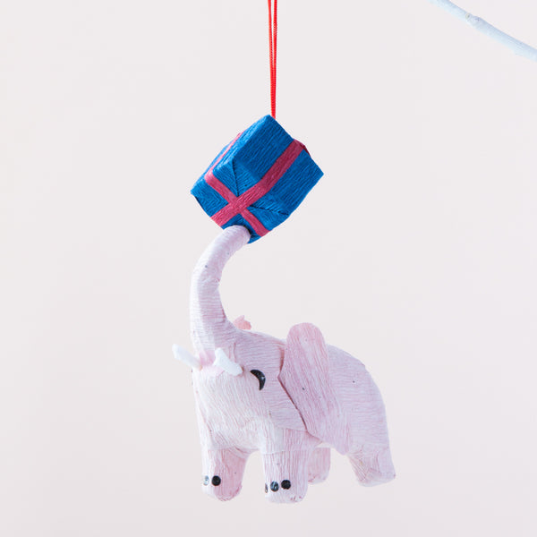 Down To The Woods - Paper Decoration Elephant with Present Blue Red