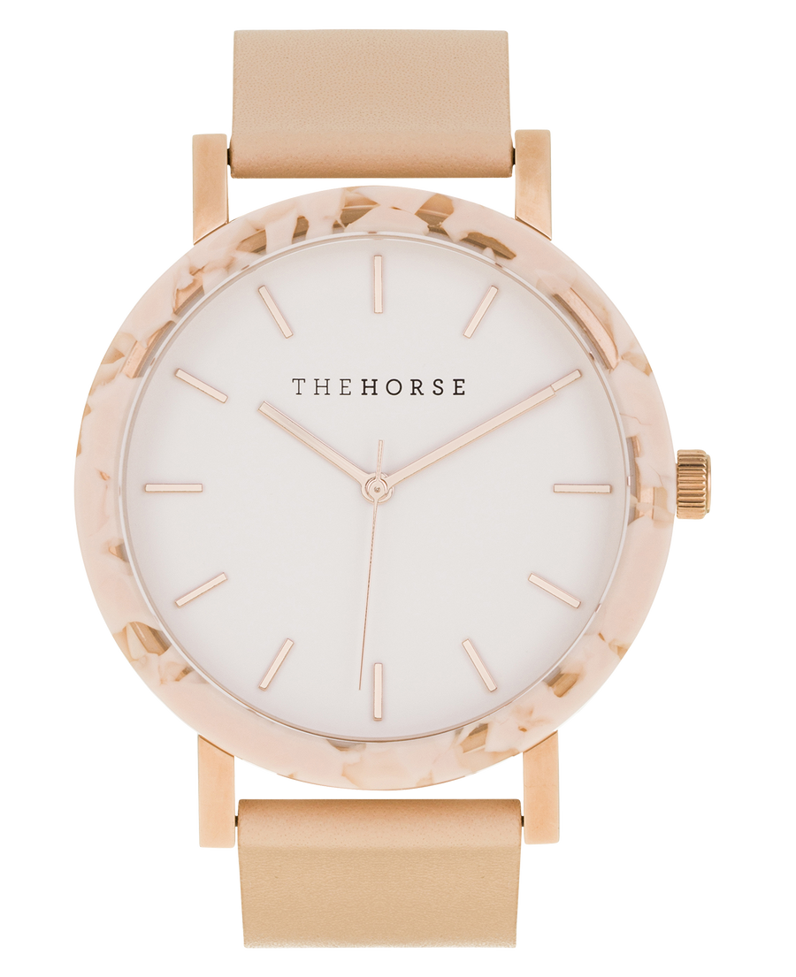 The Horse - The Resin - Peach Speckle/ White Dial/RoseGold Index / Vegetable Tan Leather