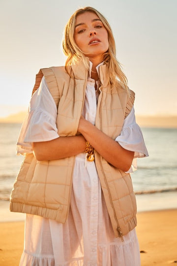 Bohemian Traders - Oversized Puffer Vest In Sand