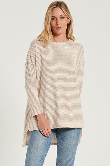 Bohemian Traders - Boyfriend Swing Tee - Tan Textured Stripe