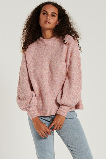 Bohemian Traders - Feature Sleeve Knit Jumper - Raspberry Marle