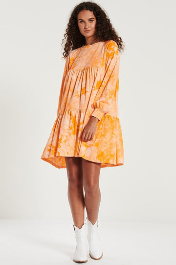 Bohemian Traders - Jersey Swing Dress - Papaya Tie Dye