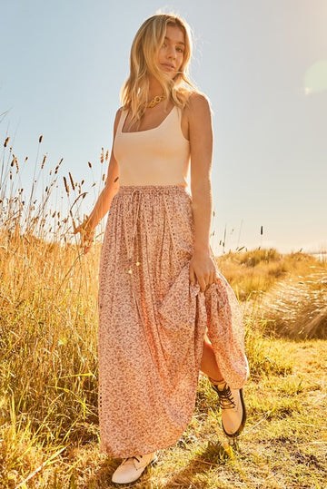 Bohemian Traders - Lace Trim Maxi Skirt In Neverland