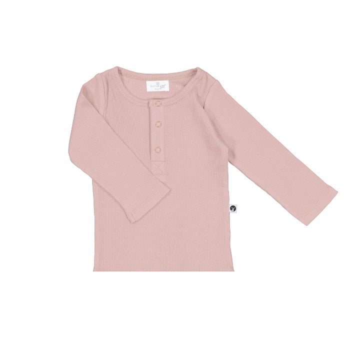 Burrow & Be - Long Sleeve Henley Rib Top - Dusty Pink