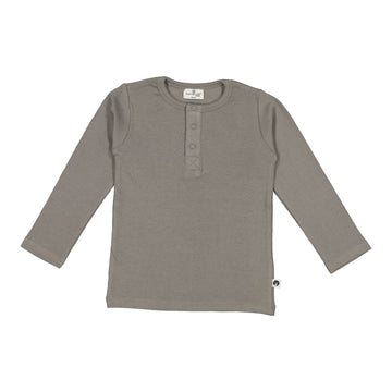 Burrow & Be - Long Sleeve Henley Rib Top - Steel